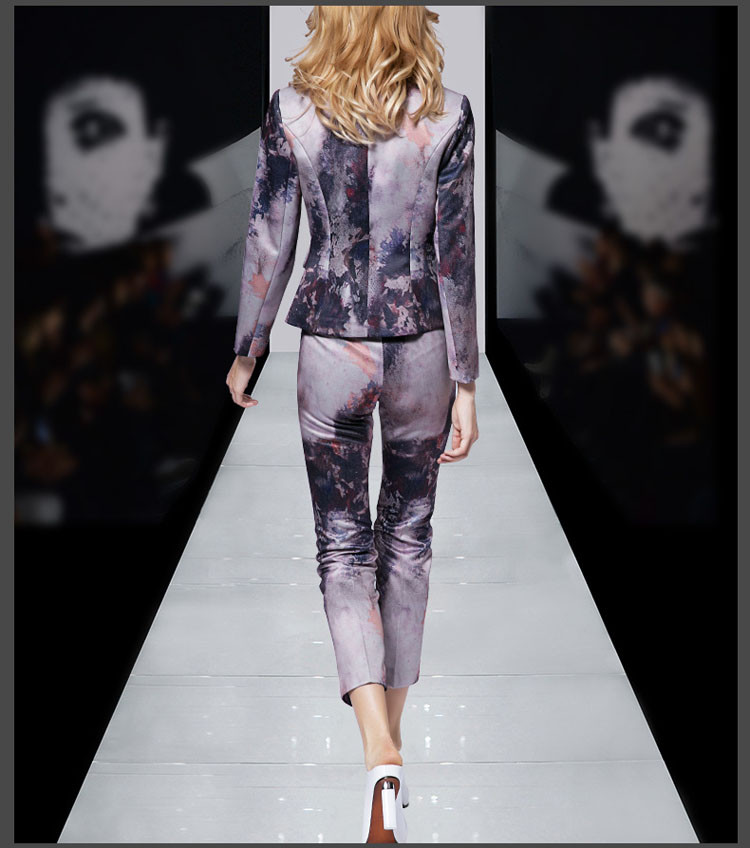 Print Women Business Suit Purple Color Pants Set 2017 09