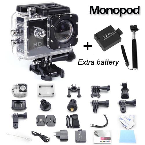 Prix pour SJ4000 origine 1.5 pouce LCD action caméra full hd 1080 p étanche Sport Caméra Plongée 30 M Étanche deux batterie + monopode