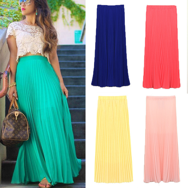 f2ef47dc1 US $12.58 |Fanshoubaby New 2016 Spring Summer Fashion Long Chiffon Skirts  Female Candy Color Pleated Maxi Womens Skirts-in Skirts from Women's ...
