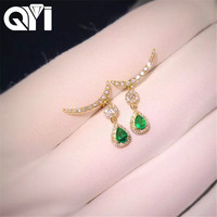 QYI Woman earrings 18K Yellow Gold Diamond Gemstone 0.25 CT Pear Cut Natural Diamond Earrings Fine Jewelry Earring Studs