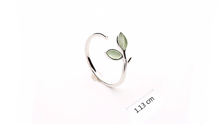 geekoplanet.com - 100% 925 Sterling Silver Green Opal Leave Buds Open Ring