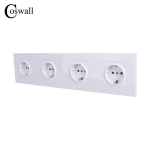 Image 4 - COSWALL 4 Gang Wall Power Socket Grounded 16A EU Standard Quadruple Outlet With Childen Protective Door PC panel