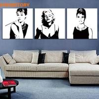 Unframed 3 Panel Black And White Marilyn Monroe Audrey Hepburn Modern Wall Art Picture Print Home