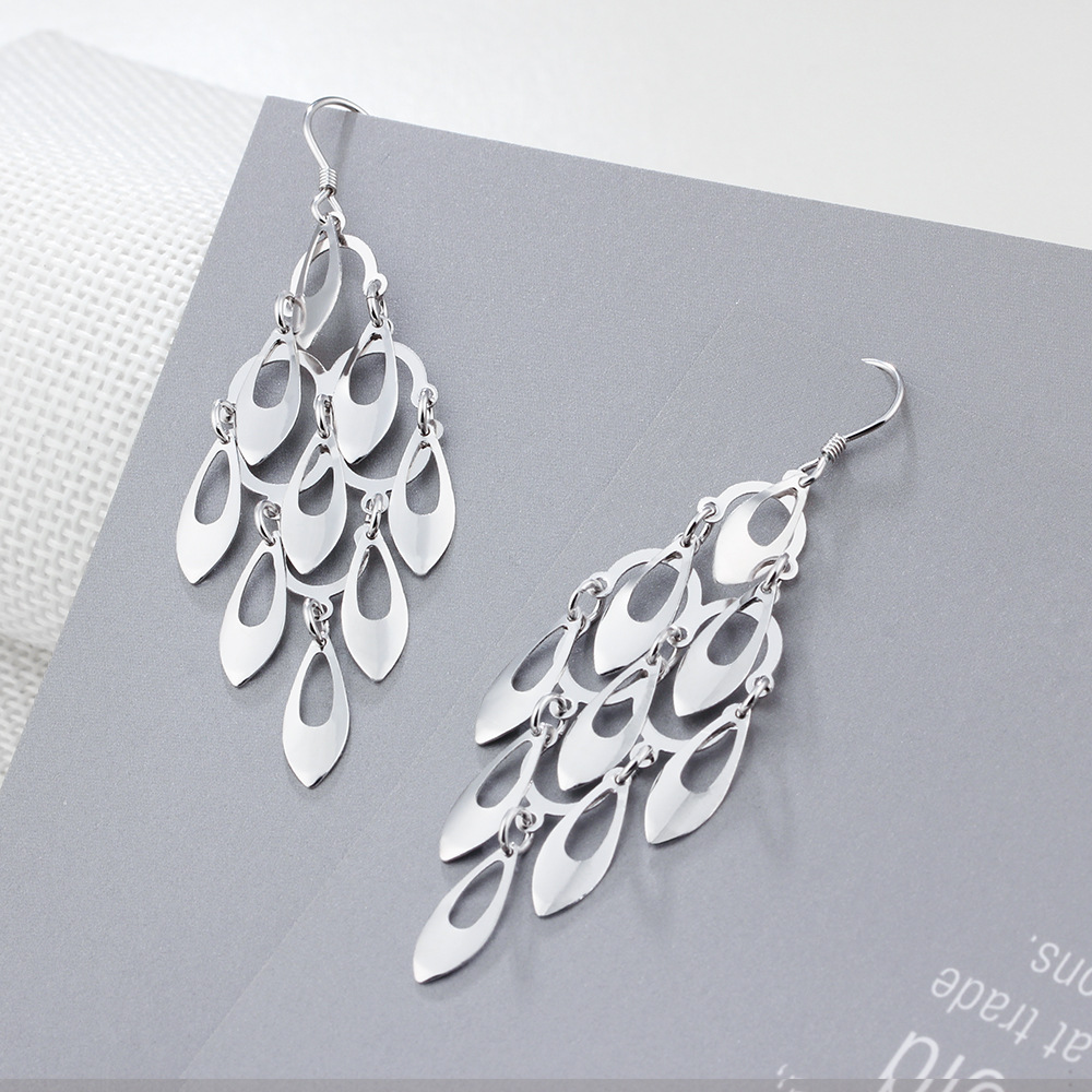 GUP6 women fine jewelry,lady fashion earrings in the shape of peacock feathers,925 silver earring for queen pair of starfish shape earrings for women