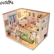CUTEBEE Maison de Poupée Miniature BRICOLAGE Dollhouse Avec Meubles En Bois Maison Étoiles Ciel Jouets Pour Enfants Cadeau D'anniversaire M026