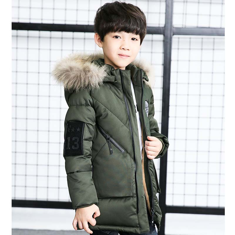Children's Winter Jackets For Boy Thick Warm Fur Hooded Coats Outerwear Teenage Boy Cotton Wadded Jacket Kids Windproof Clothing new 2017 russia winter boys clothing warm jacket for kids thick coats high quality overalls for boy down
