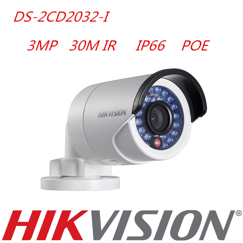 DHL Free Shipping Hikvision DS-2CD2032F-I 3MP Bullet IP Camera POE 4pcs/lot Hikvision Network Camera