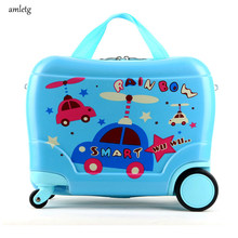 Amletg Brand Best Selling Anime Student Stereo Children's Suitcase Travel Trolley Case Cute Cartoon Boy Girl Backpack(China)