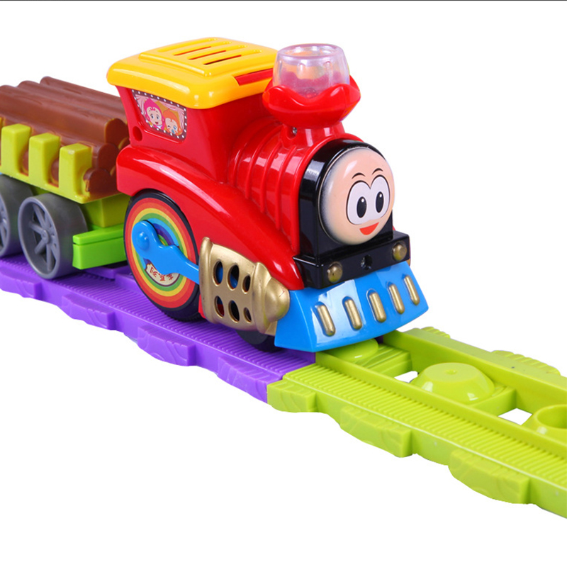 Plastic Railway Train Model Toy with Slot Electronic Musical Flashing Educational toys for children