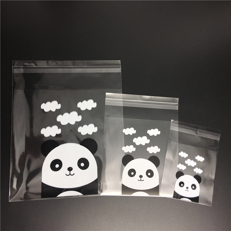 100pcs Panda Self-adhesive Cookies Bag 3 Sizes Wedding Candy Bags Party Supplies Decoration Transparent Biscuits Packaging