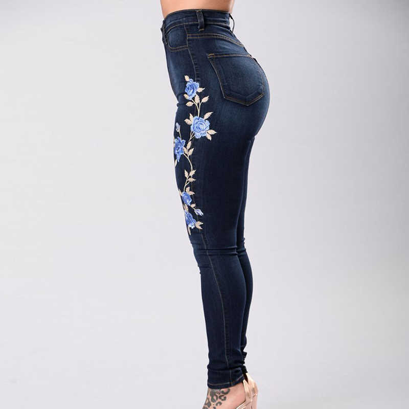 55fe8a97e ... LAAMEI Flower Embroidered Elastic Denim Pencil Pant Women Jean Female  sexy skinny Jeans Pant Pantalon Women ...