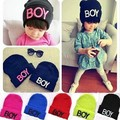 2015 Winter Children's Knitted Hats Hot  Beanies Cap For Boy  Girls Baby Letter BOY Child Kids Cap Beanies Skullies kids Ice Cap