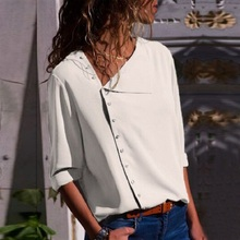 Hot Sale Fashion Women Shirt Skew Collar 4 Color Irregular Oblique Long Sleeve Blouse Casual Tops High Quality