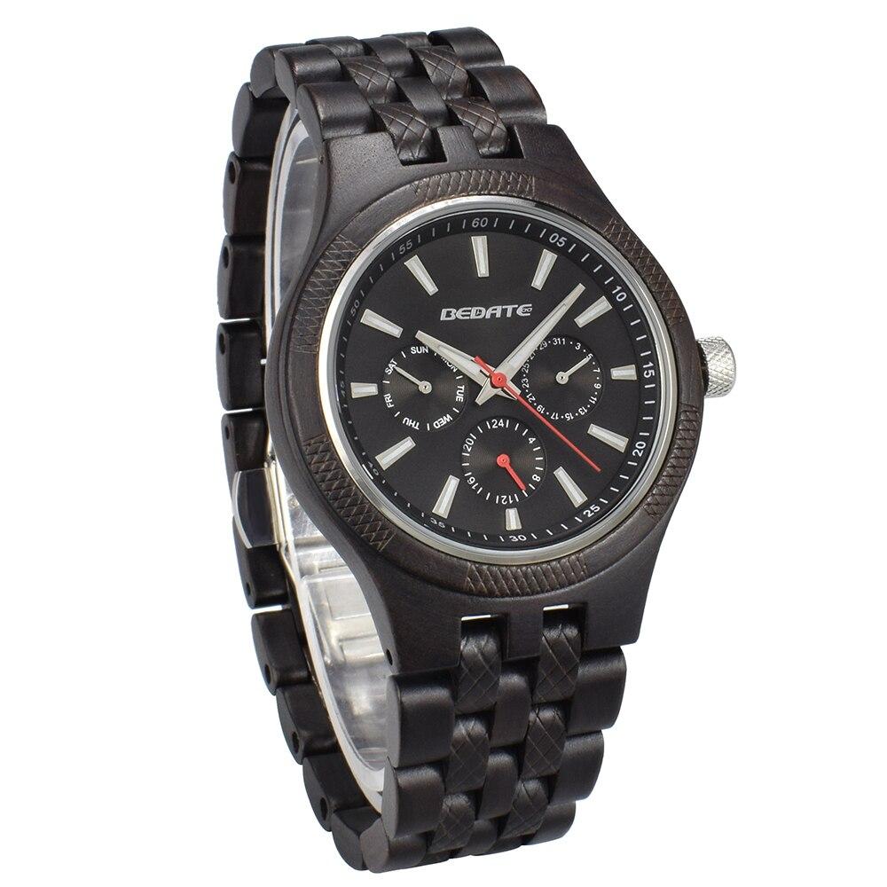 Unique hommes montres 2018 marque de luxe en bois montre étanche Quartz Sport chronographe en bois homme horloge montre homme cadeau boîte 143a