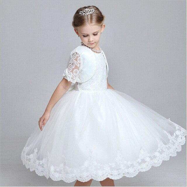 811564c728 Elegancki Vintage Księżniczka Dziewczyny Biała Sukienka Na Wesele Sukienka  Flower Girl Dresses Z Kurtka Dziecko Dzieci