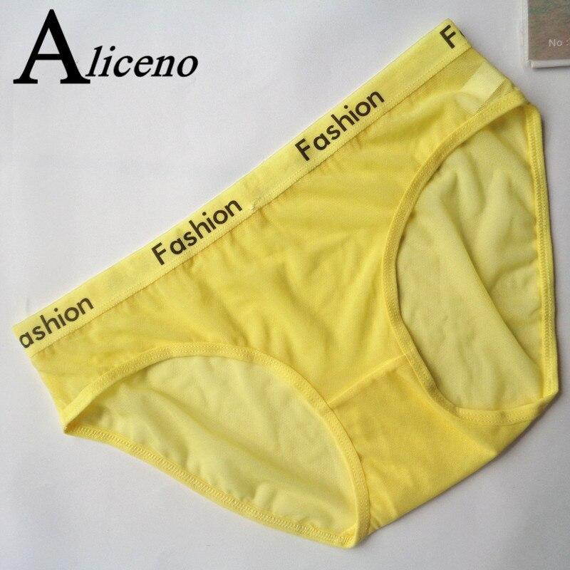 ALICENO Letter Print Sexy Ladies Cotton Mesh Transparent   Panties   lingerie Fashion Low-Rise Women Underwear Seamless Briefs HP07