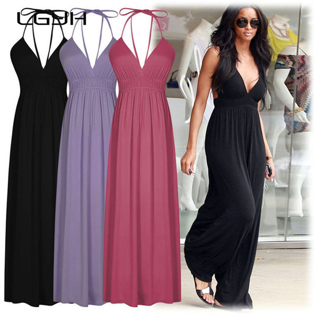 873594257b3 2016 New Summer Beach Party Hawaiian Sun Dress Women Casual Maxi Dress  Gowns Red Black Women Clothing