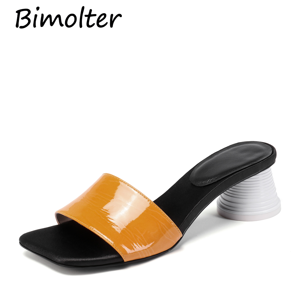 Bimolter Cylindrical heel Fashion Mules Sheepskin Insole Yellow Basic Slippers Summer Holiday Casual Patent Leather Shoes FC125