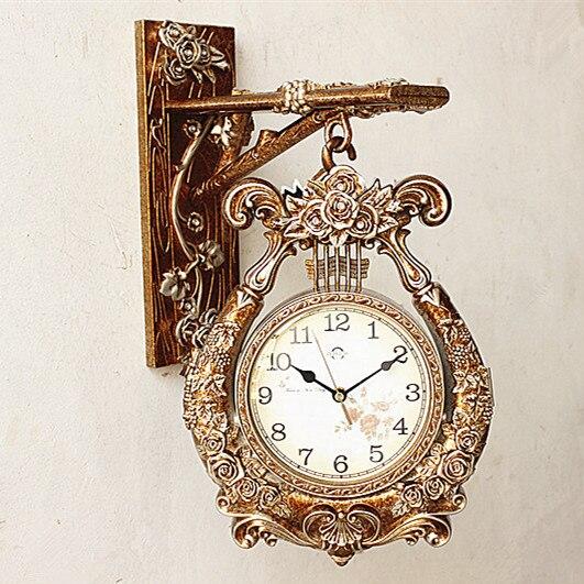 European Style Double Sided Wall Clock Creative Fashion Living Room Zhong Shiying Modern