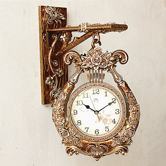 European Style Double Sided Wall Clock Creative Fashion Living Room Zhong Shiying Modern Mute Pocket Watch Hanging Wa