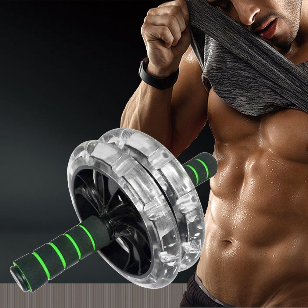200mm Double-wheeled Muscle Trainer Abdominal Wheel Noiseless Abdominal Roller Gym Tool Fitness Equipment Exercise Accessory