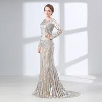 Luxury Long Sleeves Evening Dresses 2018 Mermaid Sequin Muslim Arabic Style Women Formal Evening Party Gown Robe De Soiree