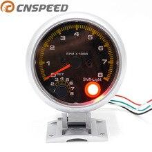 CNSPEED 80 мм 0~ 8000 Авто углеродное волокно Уход за кожей лица тахометр об/мин метр с рукоятка рычага переключения передач светильник желтый светодиодный YC100145-CN