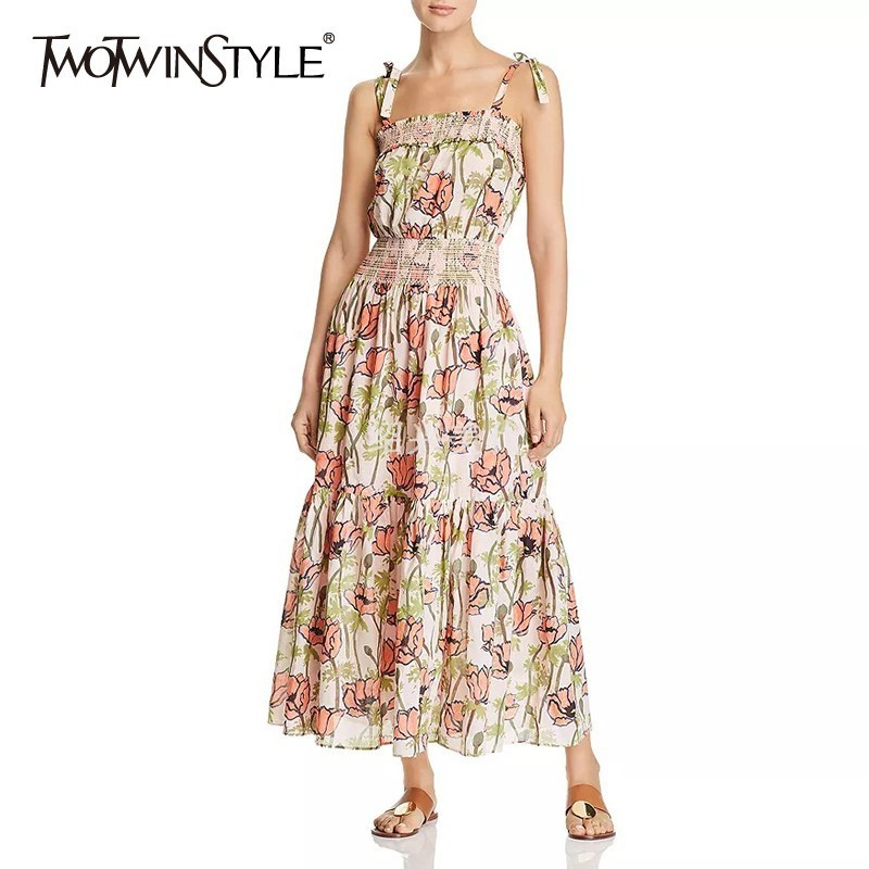 TWOTWINSTYLE Summer Print Off Shoulder Dress For Women Sleeveless High Waist Slim Midi Dresses Female Fashion