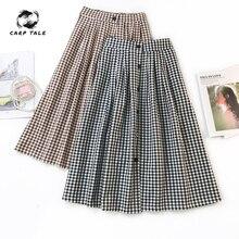 Spring and summer Korea new single-breasted retro literary plaid skirt female wild long a word skirt high waist umbrella skirt
