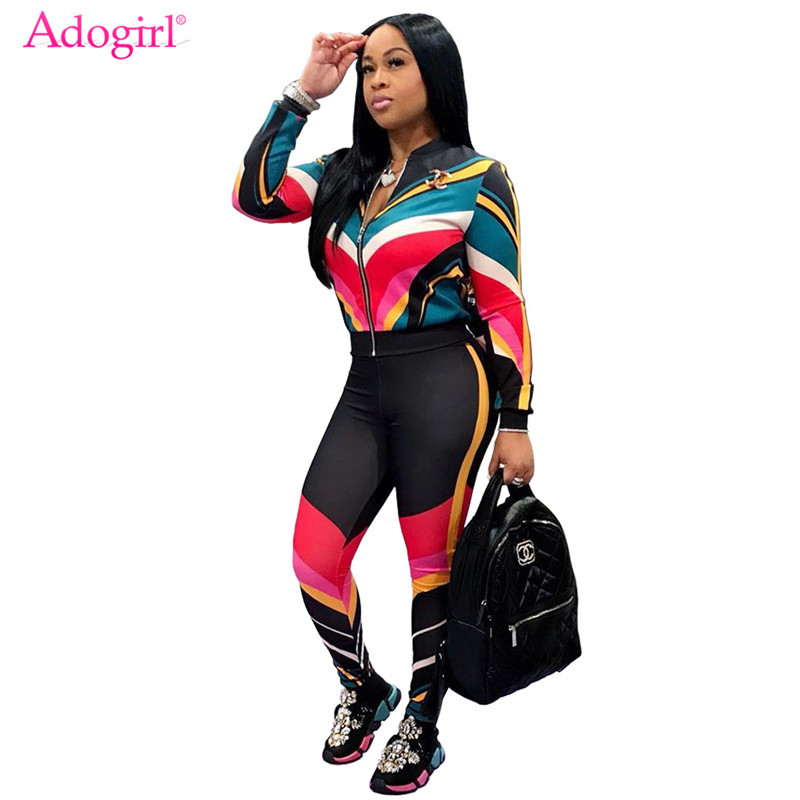 Adogirl Contrast Color Stripe Women Tracksuit Zipper Long Sleeve Jacket Coat + Pants Fitness Sporting Suit Plus Size 2 Piece Set
