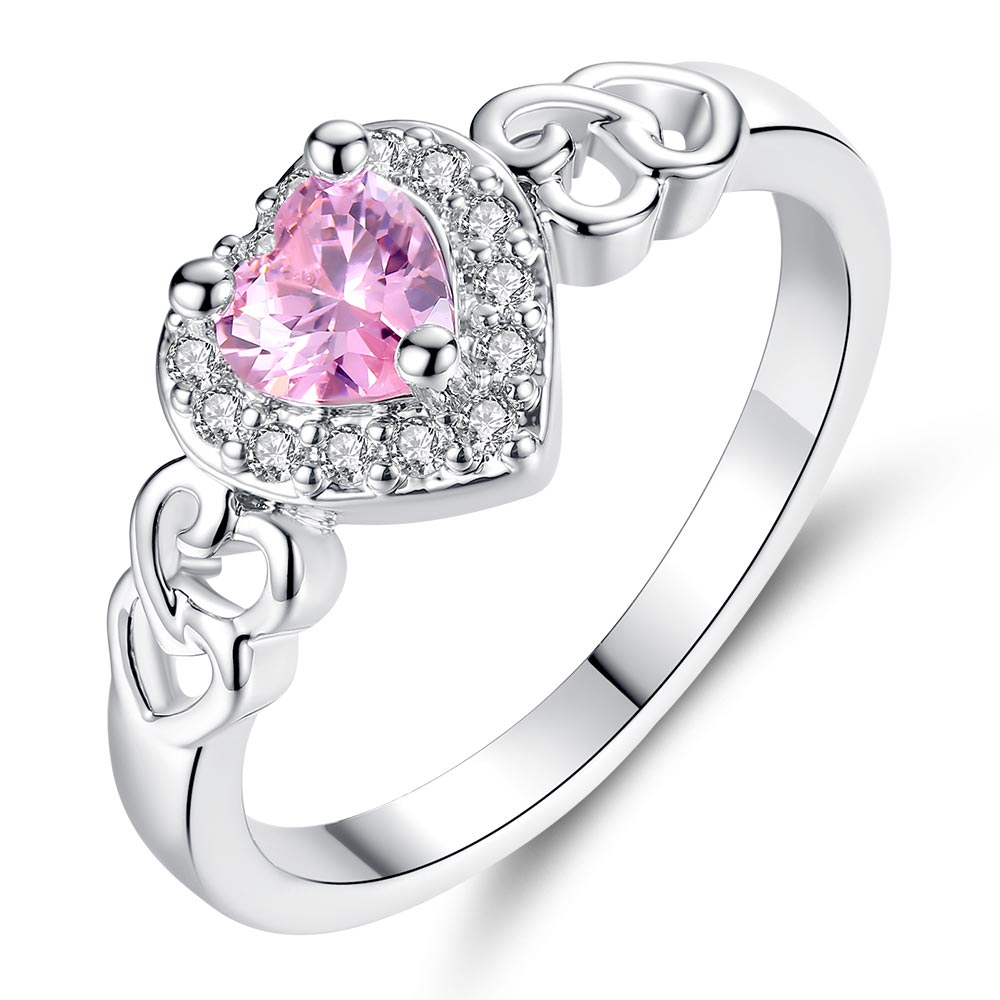 Beiver Fashion Korea Women Rhodium Plated Heart Pink Crystal Ring Size 6 7 8 9