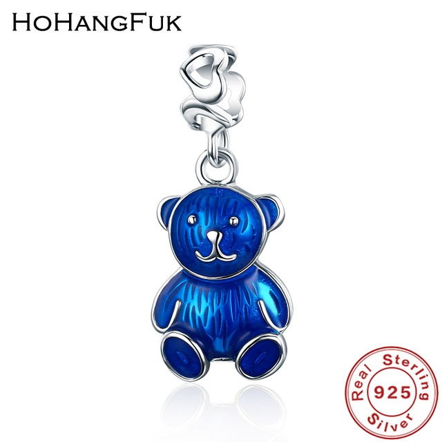Hohangfuk 100 925 sterling silver blue enamel cool little bear hohangfuk 100 925 sterling silver blue enamel cool little bear pendant charm fit women bracelet aloadofball Images