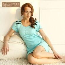 Qiaxniu платье Шею С Коротким Рукавом Ночную Рубашку Летом Случайные Юбки Модальный Кружева Ночной Рубашке