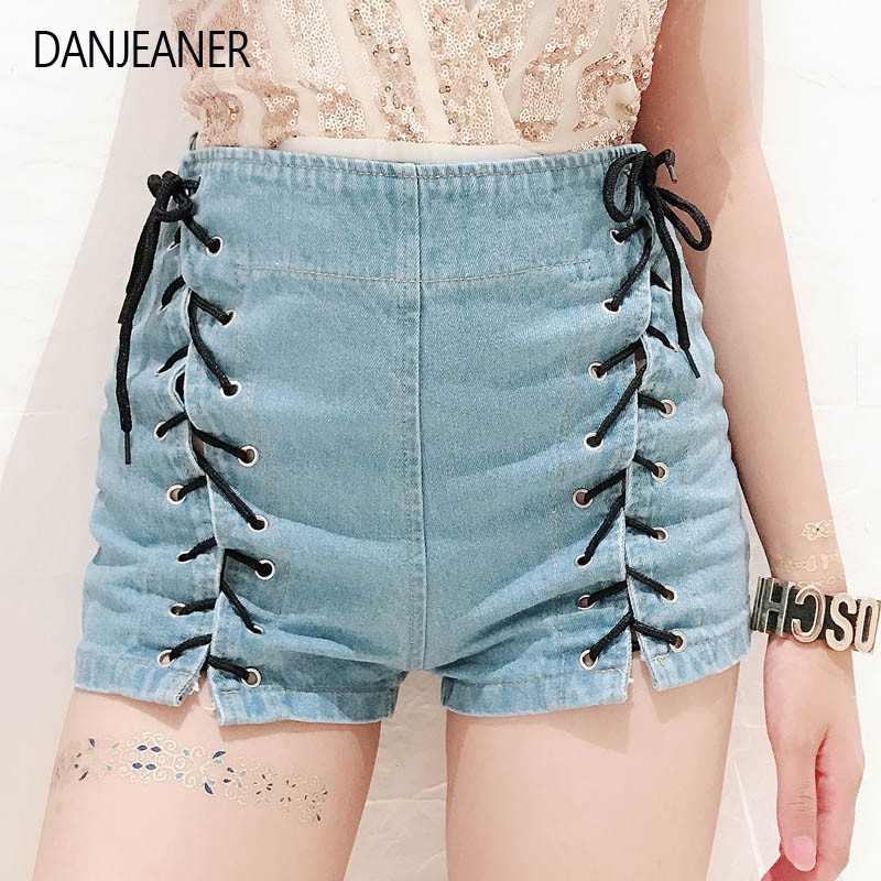 Danjeaner Shorts Women Summer High Waist Denim Shorts Sexy Lace Up Short Pants Women's Blue Tie Straps Denim Jeans Plus Size