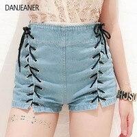 Danjeaner Shorts Women Summer High Waist Denim Shorts Sexy Lace Up Short Pants Women's Blue Tie Straps Denim Jeans Plus Size