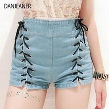 цена на DANJEANER Shorts Women Summer High Waist Denim Shorts Sexy Lace Up Short Pants Women's Blue Tie Straps Denim Jeans Plus Size