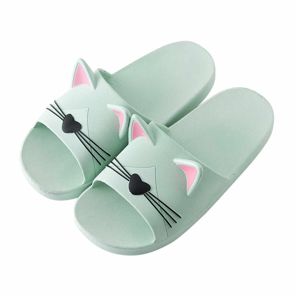 2019 домашняя обувь с мультяшным котом, Нескользящие тапочки, пляжная обувь, обувь для родителей и детей