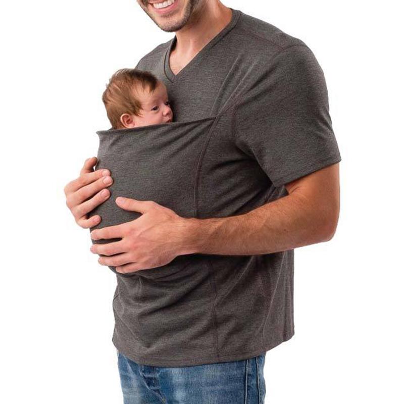 Men Multifunction Baby Carrier T Shirts Sling Kangaroo Pocket Dad Baby Tee  Shirts Summer Family Matching S T shirts|family matching t-shirts|family  matchingmatching family - AliExpress