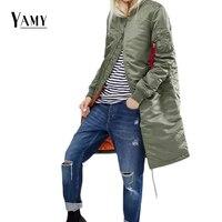 Longo inverno das mulheres jaquetas e casacos mulheres jaqueta bomber militar do exército verde oliva para baixo jaquetas básicas outerwear blusão