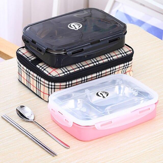 ONEUP обеда Нержавеющая Сталь bento box с ложкой палочками Термальность изоляции мешок дети Портативный контейнер для хранения еды