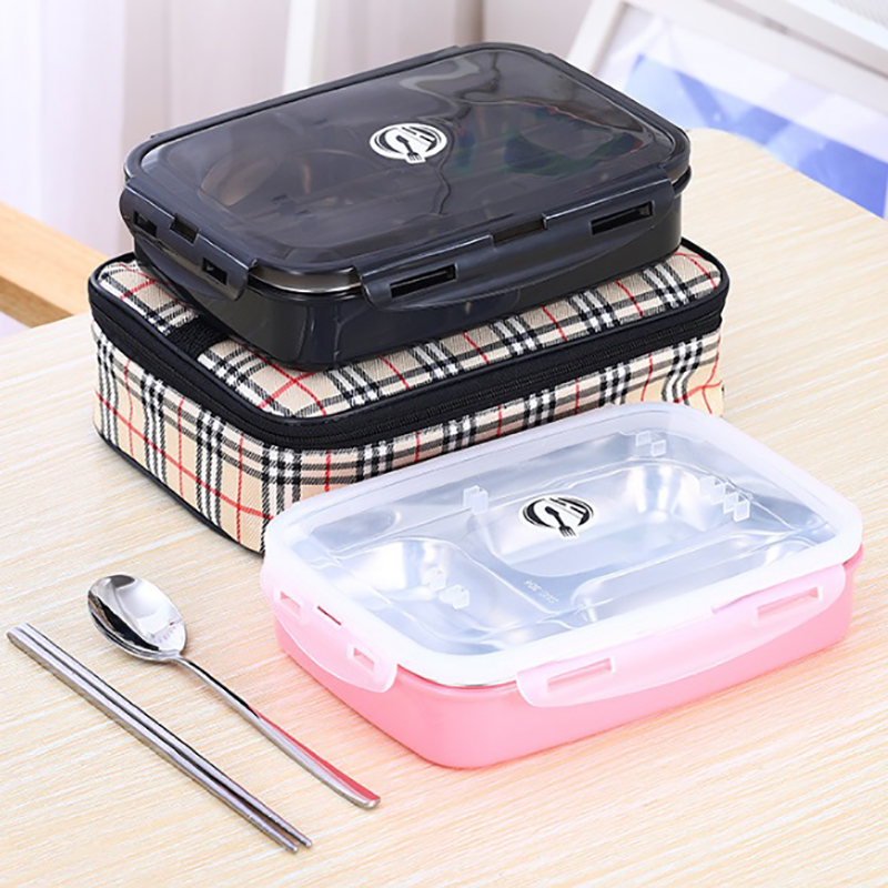ONEUP boîte À Lunch en acier inoxydable bento box avec cuillère baguettes sac D'isolation Thermique Enfants Portable alimentaire conteneur de stockage