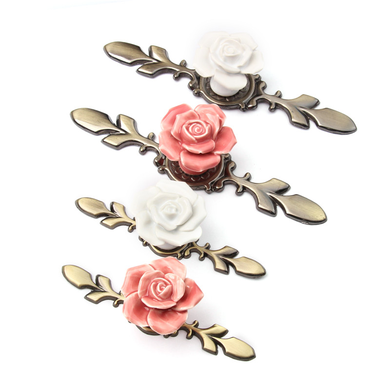 Pink White Rose Ceramic Alloy Base Door Handles Kitchen Cupboard Closet  Drawer Cabinet Pull Knobs Furniture Accessories