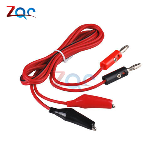 4MM Dual Alligator Clip To Banana Connector Shrouded Copper Electrical Clamp Test Cable Leads 1M For Testing Probe Oscilloscope