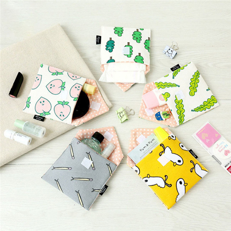 Women Girl Cotton Small Cosmetic Bags Storage Organizer Travel Case Storage Pouch Purse Nesesser Students Bags Sanitary Napkins