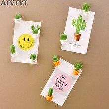 6 pcs del fumetto artificiale succulente pulsante magnete cactus frigorifero messaggio sticker autoadesivo del magnete del frigorifero giocattolo della decorazione della casa