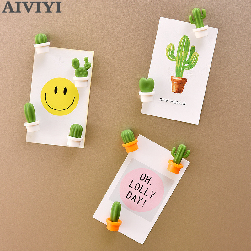 6pcs  Artificial Cartoon Succulent Magnet Button Cactus Refrigerator Message Sticker Magnet Sticker Refrigerator Toy Home Decor