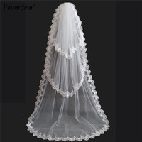 2015 Lace Edge 190CM Long Bridal Veil Lace Edge White 3 Layer Cheap Long Wedding Veils
