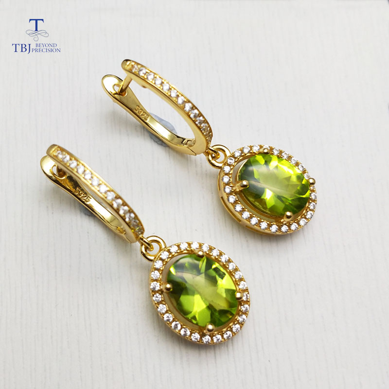 TBJ,classic design Clasp earring with natural peridot oval 7*9mm gemstone  925 sterling silver fine jewelry for women nice gift