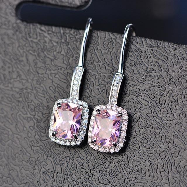 925 Sterling Silver Emerald Citrine Sapphire Gems Drop Dangle Hook Earrings  2