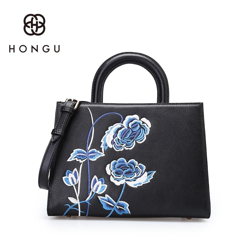Hongu Genuine Leather luxury Handbags Women Bags Designer Rose Embroidery Tote bags Women Famous Brands Lady Shoulder Louis Bags